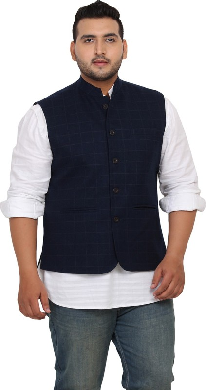 John Pride Sleeveless Checkered Mens Jacket