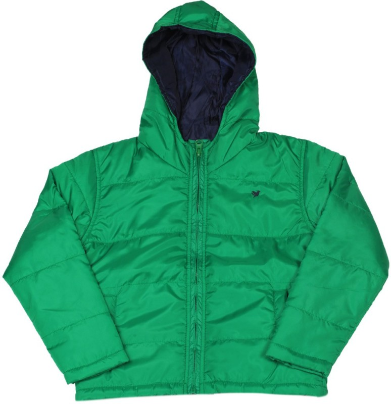 612 League Full Sleeve Self Design Girls Quilted Jacket
