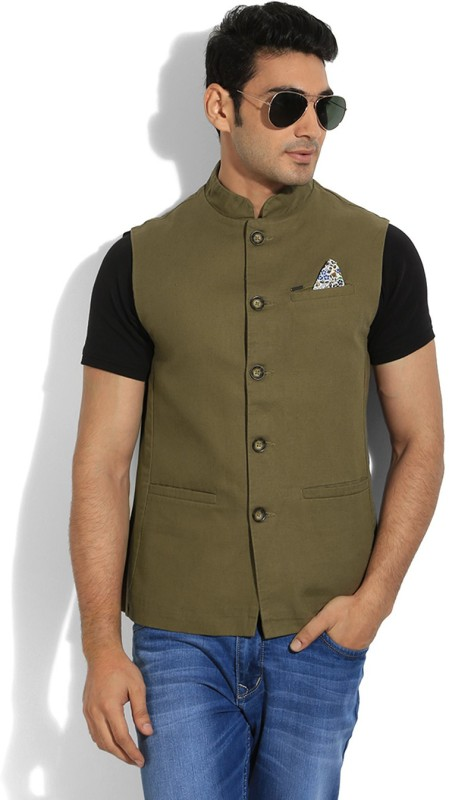 Numero Uno Sleeveless Solid Men's Nehru Linen Jacket