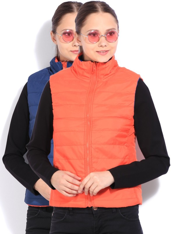 Flying Machine Sleeveless Solid Women Quilted Jacket