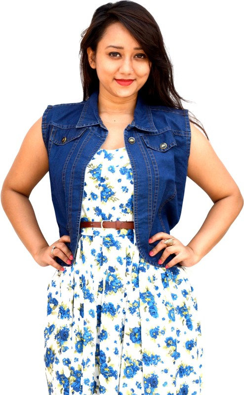Aarti Collections Sleeveless Self Design Women Denim Jacket