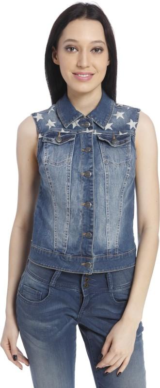 Only Sleeveless Self Design Women Denim Jacket
