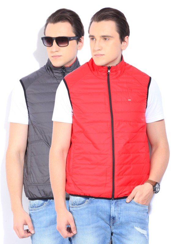 Lee Sleeveless Self Design Mens Jacket