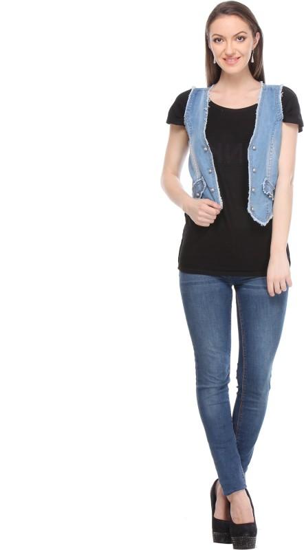 Wearsense Sleeveless Solid Women Denim Jacket
