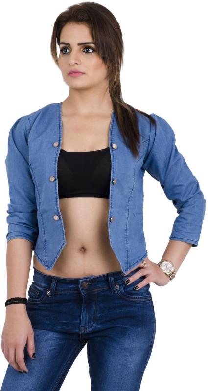 Pop Cherry Full Sleeve Self Design Women Denim Jacket