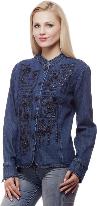 Clo Clu Full Sleeve Embellished Women Denim Jacket