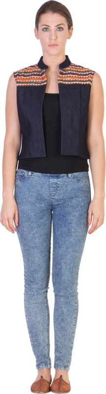 Ans Astha And Sidharth Sleeveless Solid Women Denim Jacket