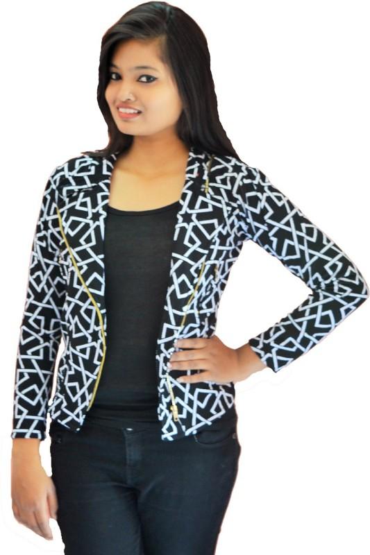 Zebra Path Full Sleeve Geometric Print Women Jacket