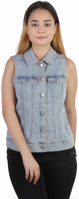 Kotty Sleeveless Solid Women Denim Jacket