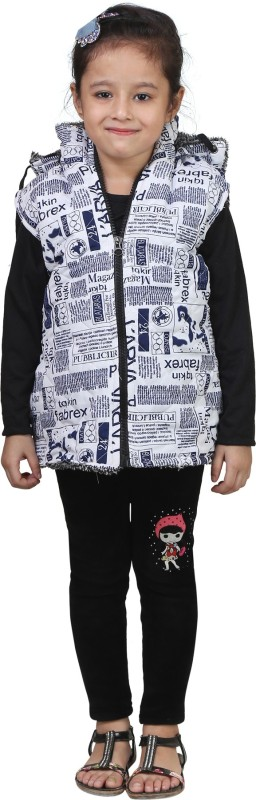 Crazeis Sleeveless Printed Girls Jacket