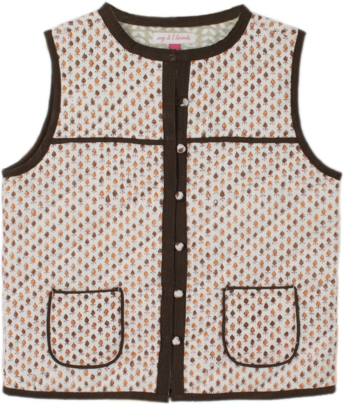 My Little Lambs Sleeveless Printed Girls Quilted Jacket