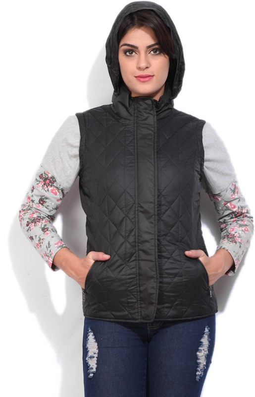 Allen Solly Sleeveless Self Design Womens Quilted Jacket Jacket