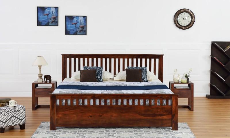 Furnspace Flint Bed Solid Wood King Bed(Finish Color - Honey Sheesham Dark)