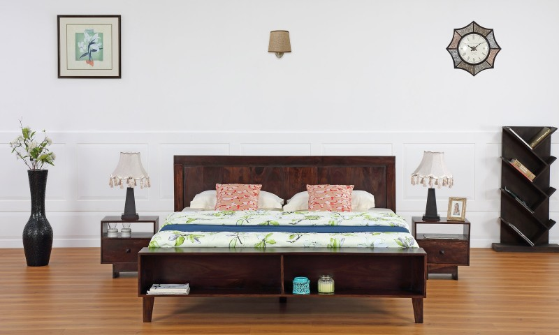 Furnspace Alivar Bed Solid Wood King Bed(Finish Color - Walnut Sheesham Dark)