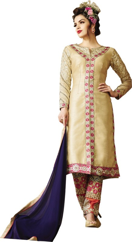 MF Retail Silk Embroidered Semi-stitched Salwar Suit Dupatta Material
