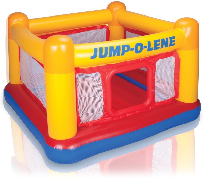 Intex ® Original Playhouse, Trampoline Playground, Jump-O-Lene Inflatable Bouncer Castle Inflatable Bouncer, Play Gym(Yello, Red, Blue)