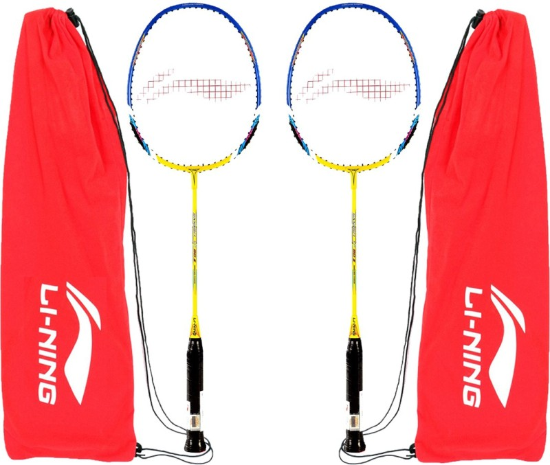 Li-Ning XP 60 II strung Badminton Racquet, (Yellow/Blue) with full...