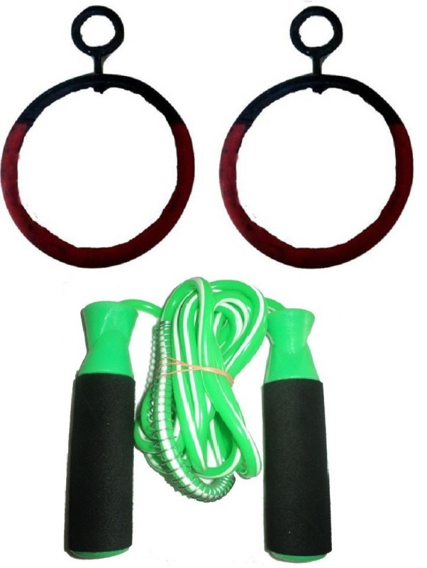 HEALTH FIT INDIA Online Series Hanging Roman Ring(12 mm)Pushup Bar, Bearing Green Color Skipping Rope Boxing Kit