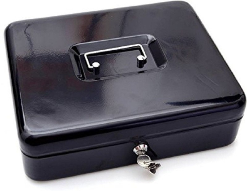 Sukot Black Petty Cash Box Cash Notes Coin Tray Holder Locker Security Cash Box Size - Medium - 20x16x9 CM Safe Locker(Key Lock)