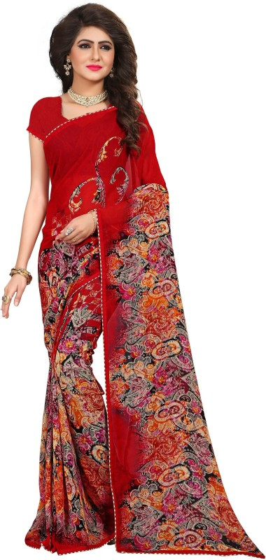 Kalaa Varsha Printed, Geometric Print Daily Wear Synthetic Georgette Saree(Red, Black)
