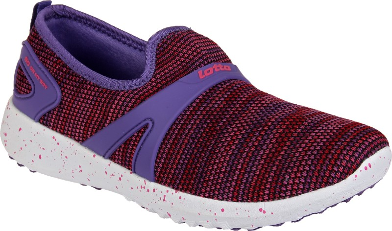 Lotto KNITTED SLIP-ON Running Shoes For Women(Purple)