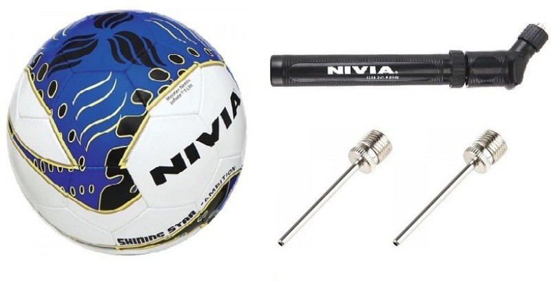 Nivia Combo Of Three, One Shining Star Ambition Football, One Double Action Pump and Two Needle- Football - Size: 5(Pack of 1, Multicolor)