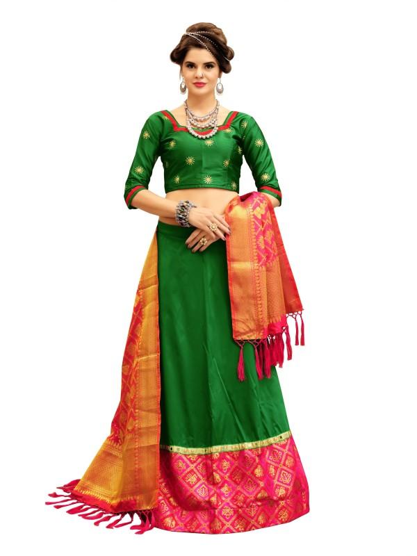 KMOZI Self Design Semi Stitched Lehenga, Choli and Dupatta Set(Green)