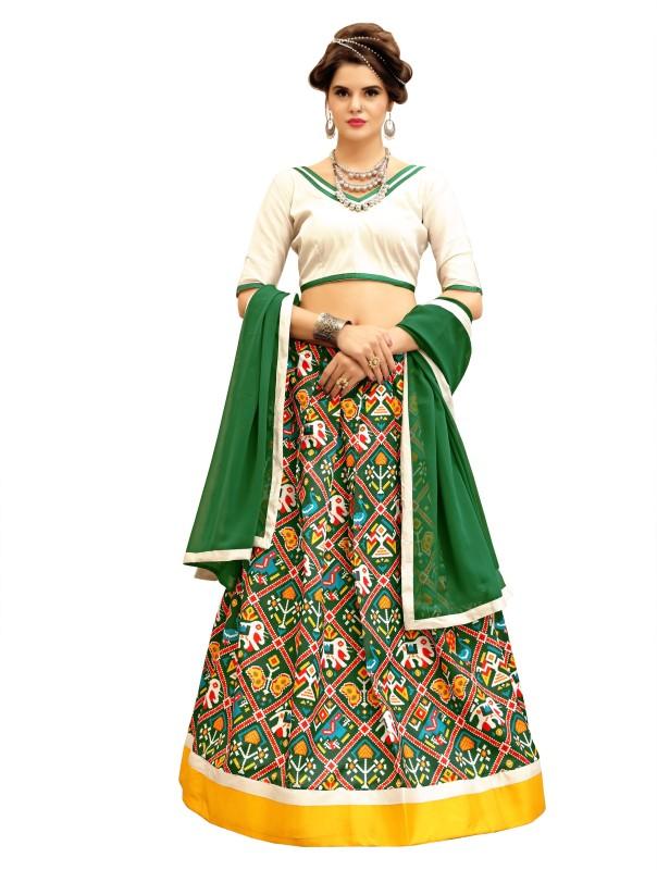 KMOZI Ikkat Semi Stitched Lehenga, Choli and Dupatta Set(Green)