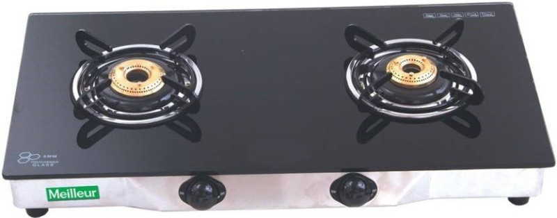 MEILLEUR MEILLEUR Glass top Automatic Gas Stove 2 Burners Steel Automatic Gas Stove(2 Burners)