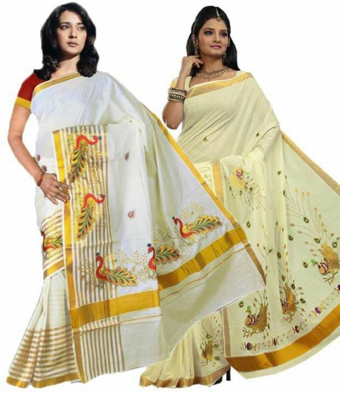 Rsv fabrics Solid, Striped Kasavu Cotton Saree(Pack of 2, White)