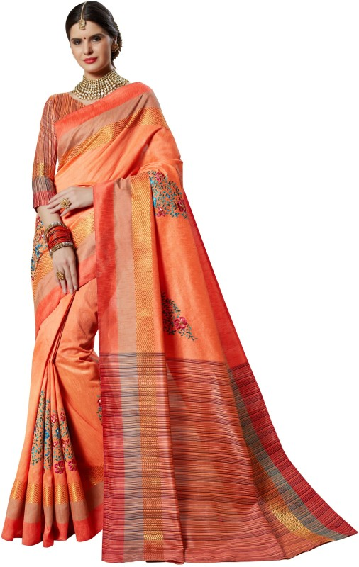 Design Willa Embroidered Fashion Silk Cotton Blend, Banarasi Silk Saree(Orange, Red)
