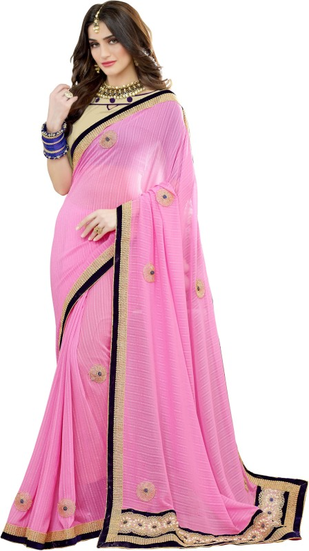 BAPS Embroidered Bollywood Georgette Saree(Pink)