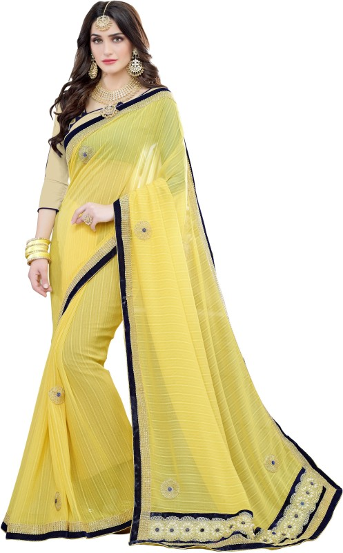 BAPS Embroidered Bollywood Georgette, Silk Saree(Yellow)