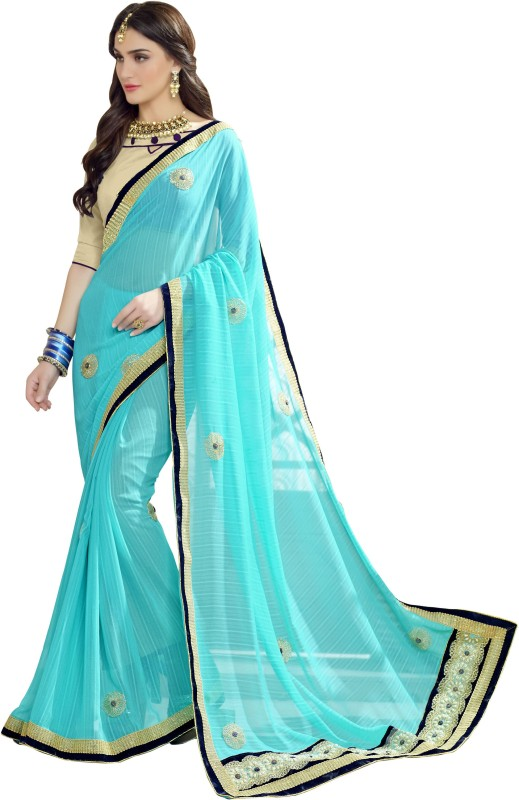 BAPS Embroidered Bollywood Georgette Saree(Light Blue)