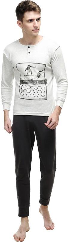 Kotty Men's Printed White Top & Pyjama Set
