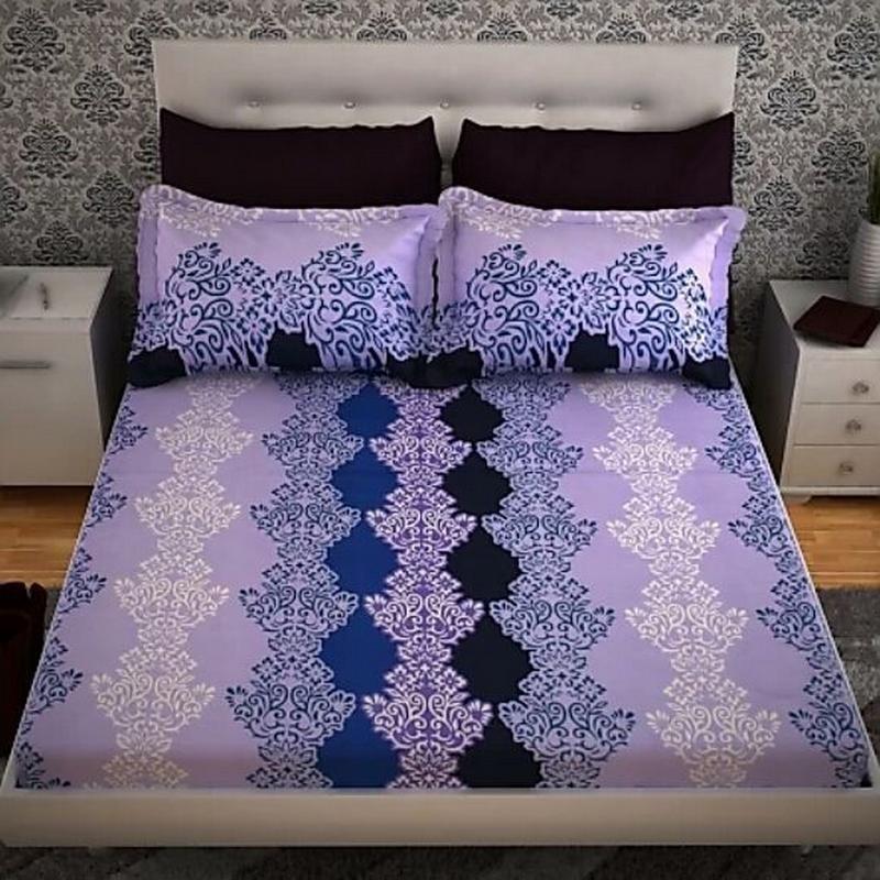 Aparna 144 TC Polycotton Double 3D Printed Bedsheet(Pack of 1, Multi093)