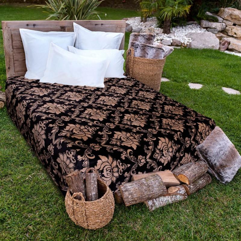 A Homes Grace Printed Single Blanket Black & Brown(AC Blanket)