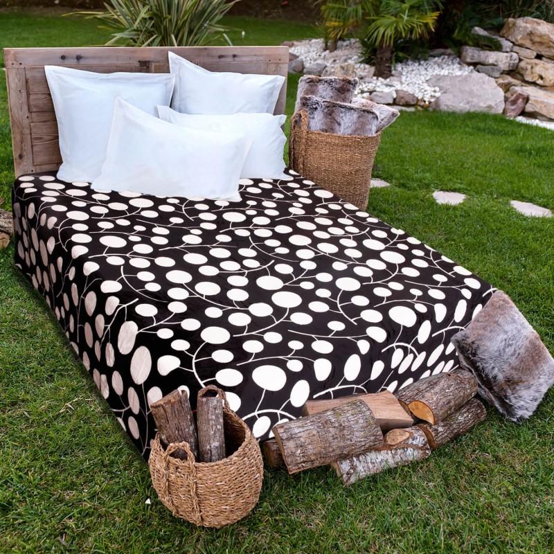 A Homes Grace Printed Single Blanket Black & White(AC Blanket)