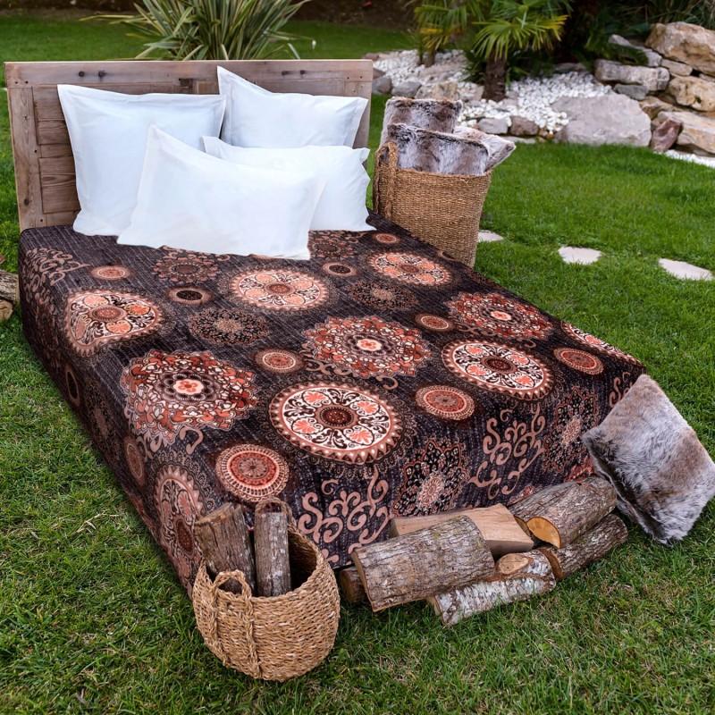 A Homes Grace Printed Single Blanket Brown & Beige(AC Blanket)
