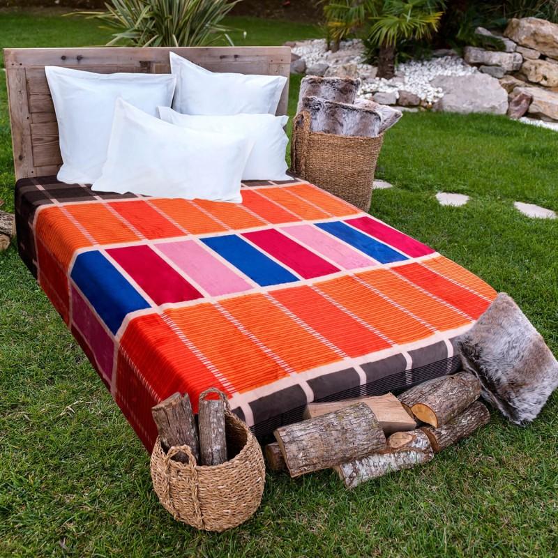 A Homes Grace Printed Single Blanket Orange(AC Blanket)