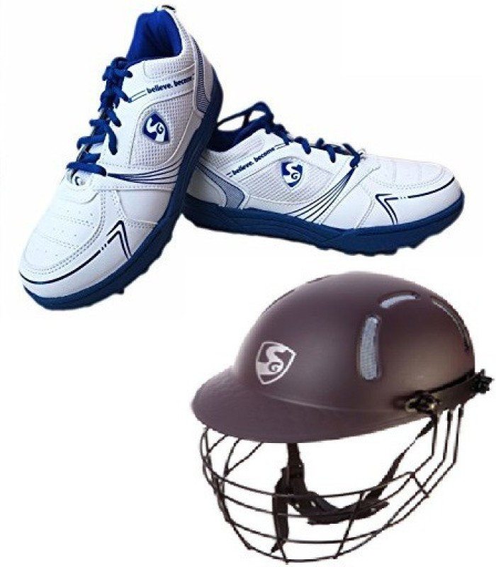 SG Combo of Two, one Pair Shield x1 Cricket Studd (Color On Availability) and one Aero shield Helmet- Cricket Kit
