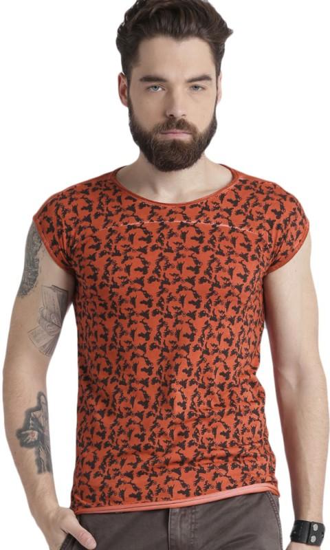 Roadster Printed Men Round Neck Orange, Black T-Shirt