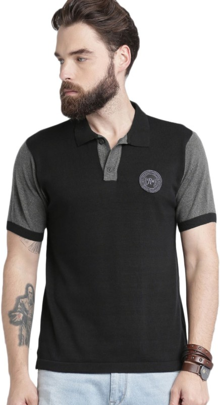 Roadster Solid Men Polo Neck Black T-Shirt