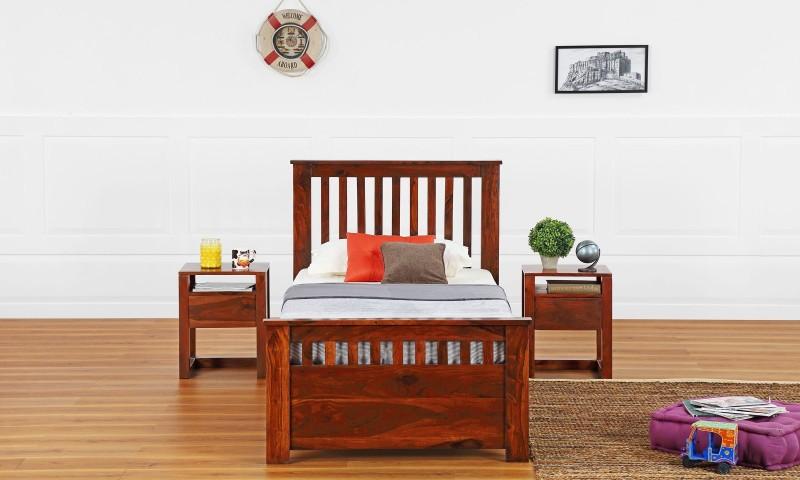 Furnspace Flint Storage Bed Solid Wood Single Bed With Storage(Finish Color - Honey Sheesham Dark)