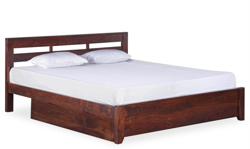 Furnspace Victor Storage Bed Solid Wood King Bed With Storage(Finish Color - Walnut Sheesham Dark)