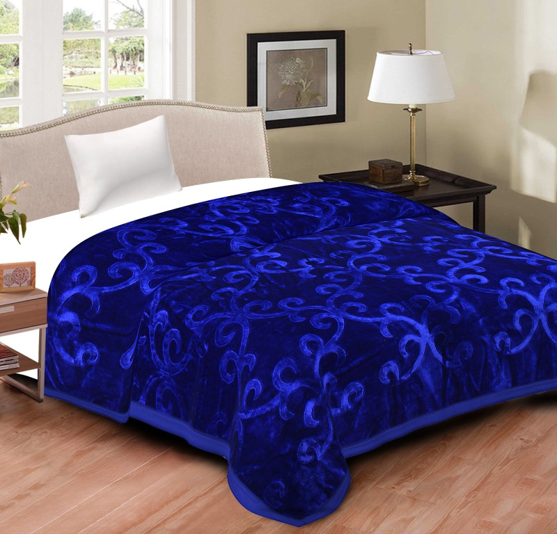 Spangle Floral, Self Design Single Blanket Blue(1 Blanket)