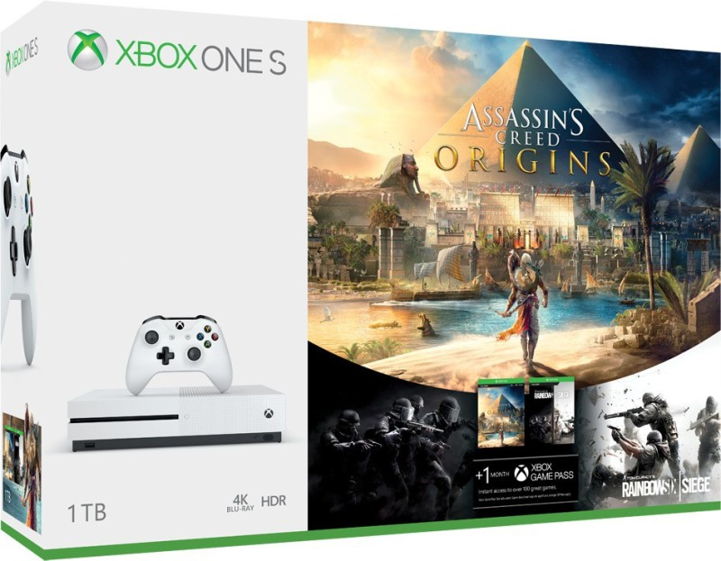 Microsoft Xbox One S 1 TB with Assassin's Creed Origins, Rainbow Six Siege(White)