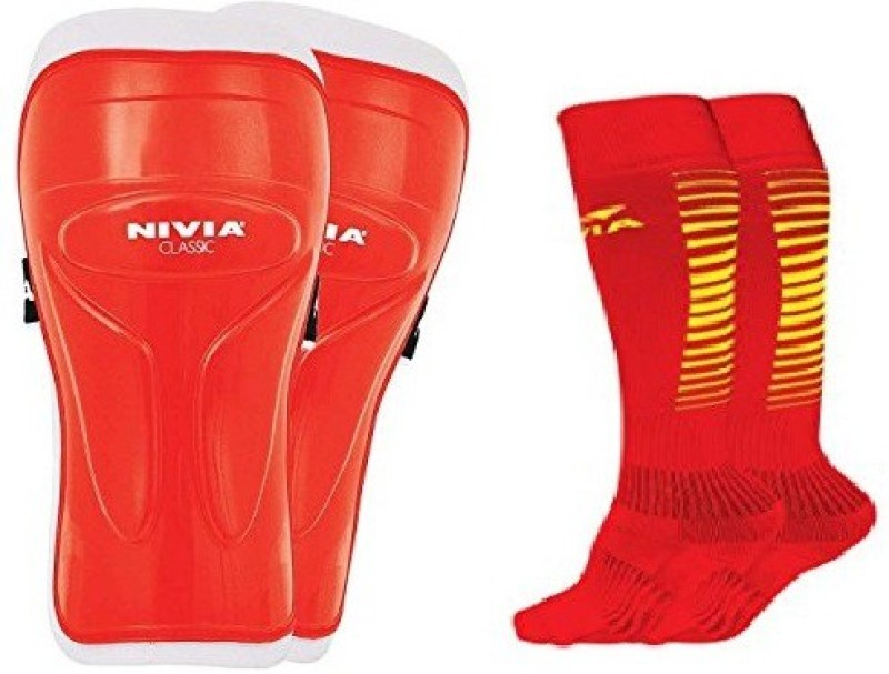 Nivia Combo of Two, one Pair of Classic Shin Guard and one Pair of Encounter Socks- (Color On Availability) Shin Guard(L, Multicolor)