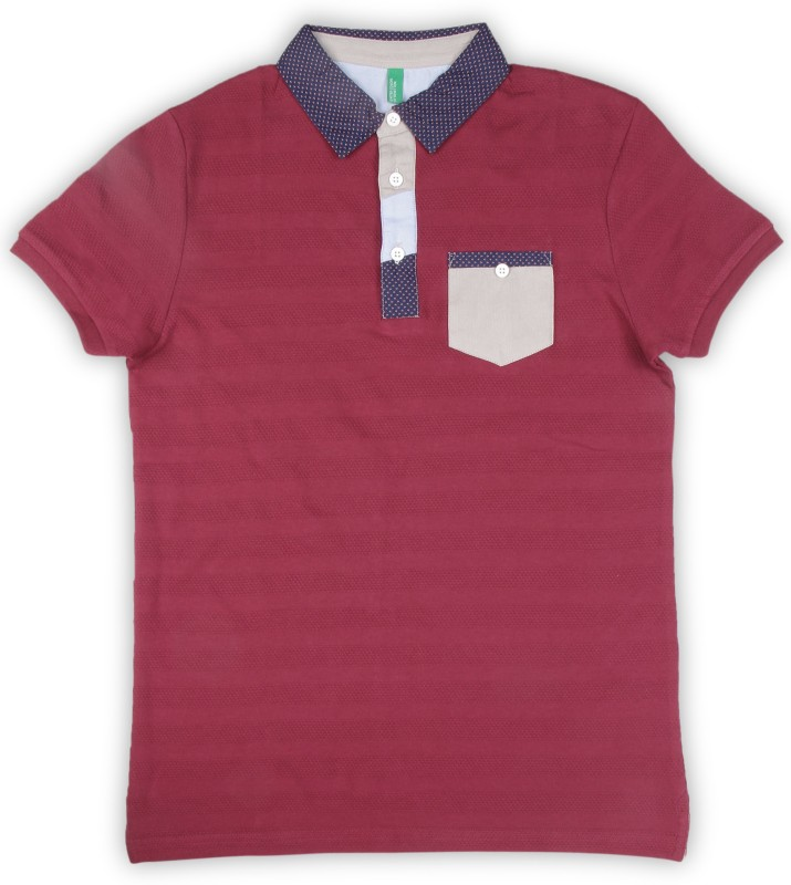 United Colors of Benetton Boys Self Design Cotton Blend T Shirt(Maroon, Pack of 1)