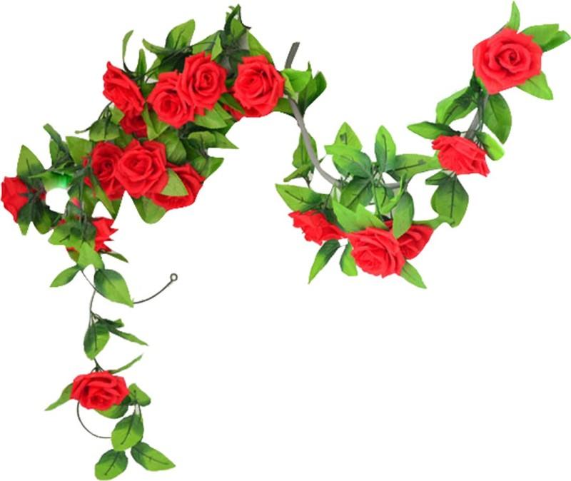 Futaba Artificial Silk Rose Flower Vine Leaves Decor - Red Rose(Red)
